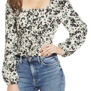 NWT ASTR the Label Square Neck Smocked Top